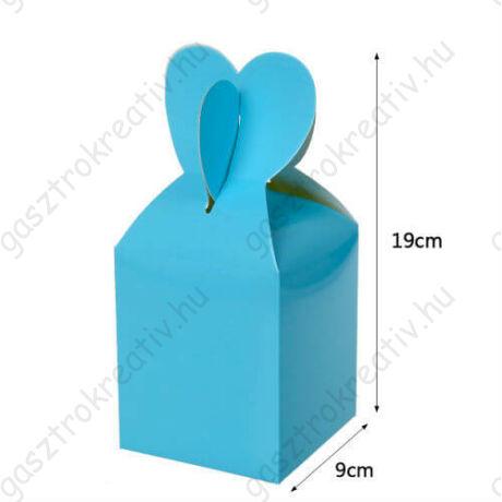 Világoskék papír ajándék doboz fülecskés 6 db