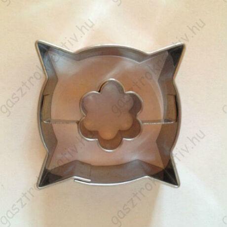 Virág közepű párna alakú linzer kiszúró 3,6 cm