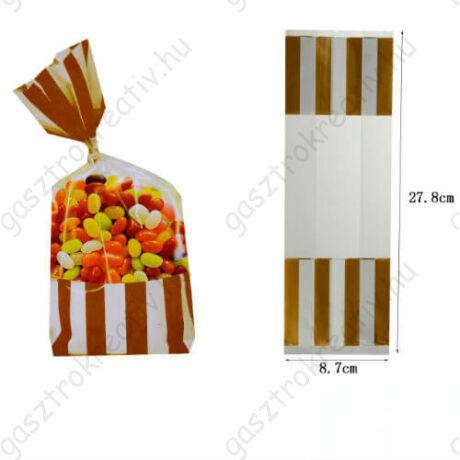 Arany fehér csíkos cukros zacskó, ajándéktasak 2 db