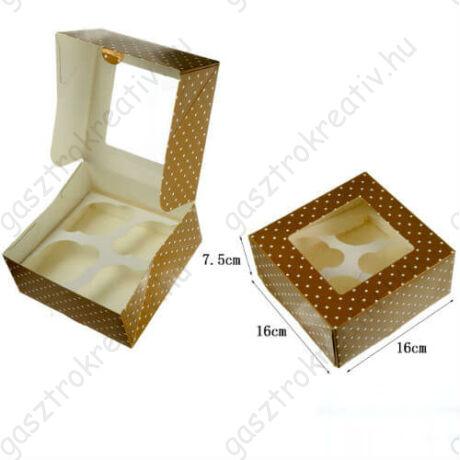 Arany pöttyös ablakos papír muffin doboz, ajándék doboz 2 db