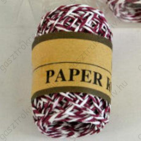 Bordó-fehér sodrott papírzsinór, papír pékzsineg