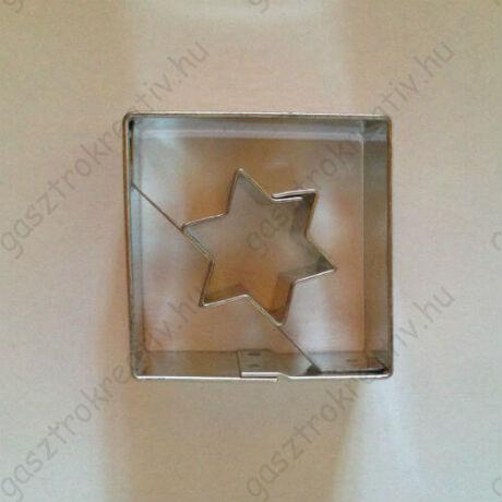 Csillag közepű négyzet linzer kiszúró 3,5 cm