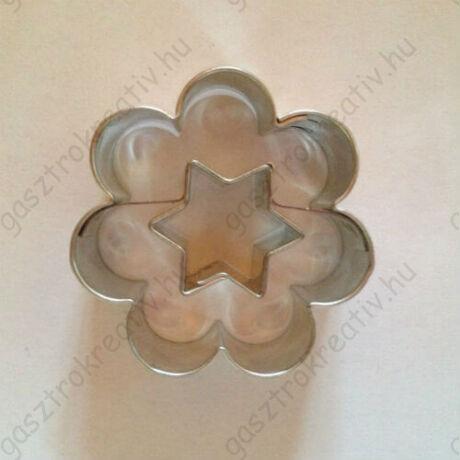 Csillag közepű virág linzer kiszúró forma 3,8 cm