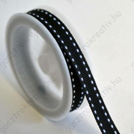 Fekete fehér szaggatott csíkos textil szalag 1 cm x 2 m