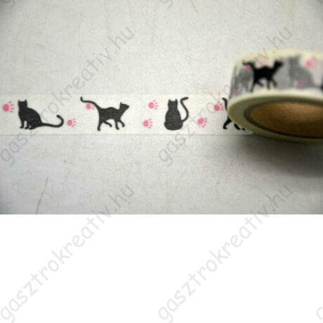 Fekete macskás öntapadós papír dekortapasz, washi tape 15 mm x 10 m