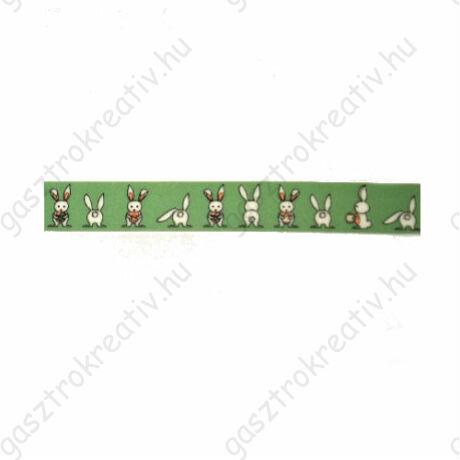 Nyuszis zöld öntapadós papír dekortapasz, washi tape 15 mm x 10 m