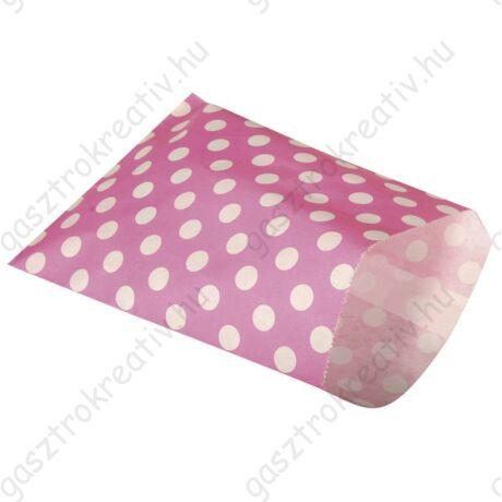Pink pöttyös papírzacskó 25 db