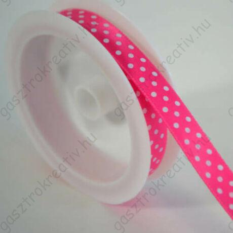 Rózsaszín fehér pöttyös szatén szalag 1 cm x 2 m