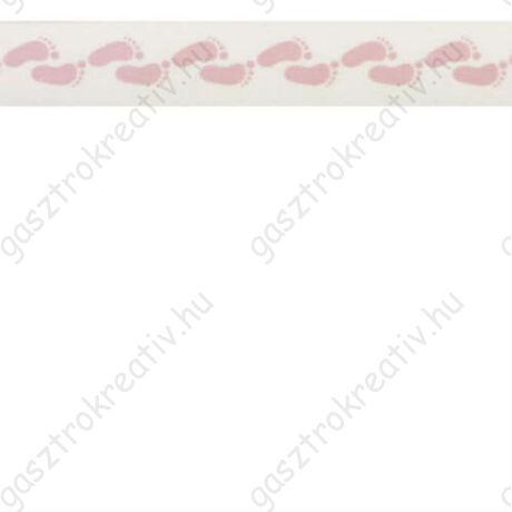 Rózsaszín babatalp mintás öntapadós papír dekortapasz, washi tape 15 mm x 10 m