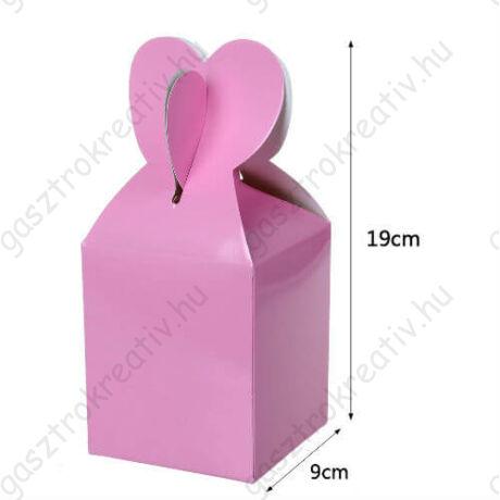Rózsaszín papír ajándék doboz fülecskés 6 db