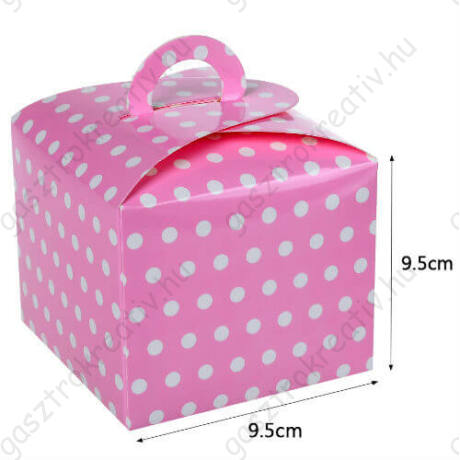 Rózsaszín pöttyös papír süteményes doboz, party doboz 6 db