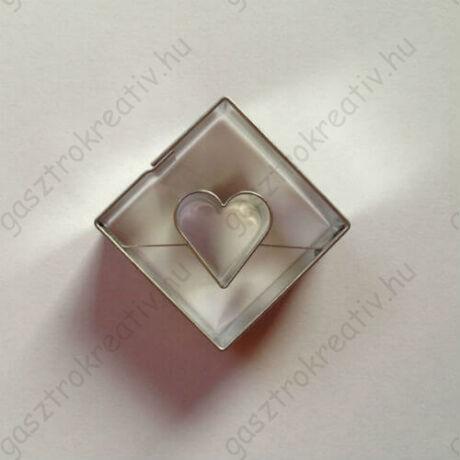 Szív közepű négyzet linzer kiszúró 3,5 cm