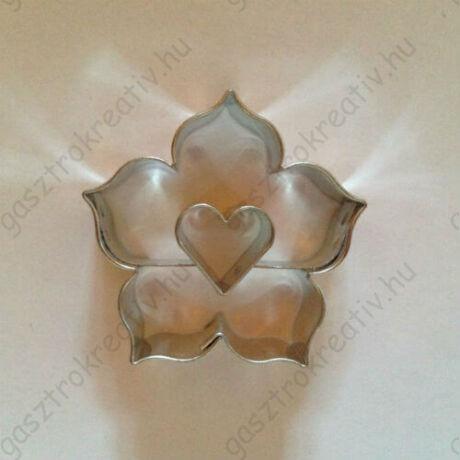 Szív közepű rózsa linzer kiszúró forma 4,4 cm