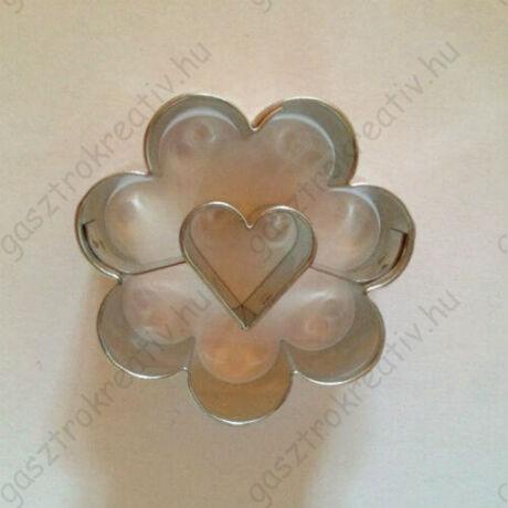 Szív közepű virág linzer kiszúró forma 3,8 cm