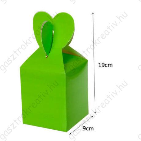 Zöld papír ajándék doboz fülecskés 6 db