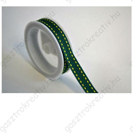 Zöld sárga szaggatott csíkos textil szalag 1 cm x 2 m