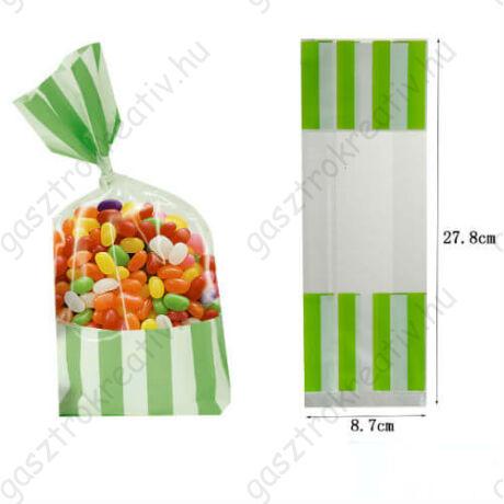 Zöld fehér csíkos cukorkás zacskó, ajándéktasak 2 db