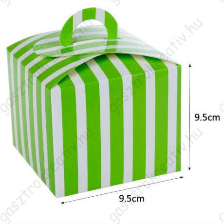 Zöld fehér csíkos papír süteményes doboz, party doboz 6 db