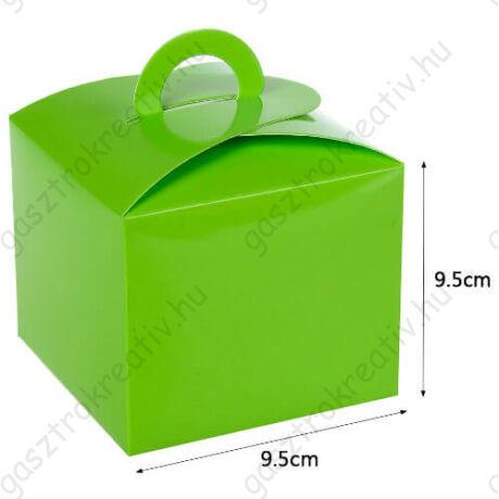Zöld papír süteményes doboz, party doboz 6 db